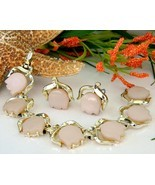 Vintage Pink Thermoset Flower Tulip Bracelet Earrings Set Signed - $28.95