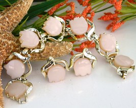 Vintage pink thermoset tulip flower bracelet earrings set signed thumb200