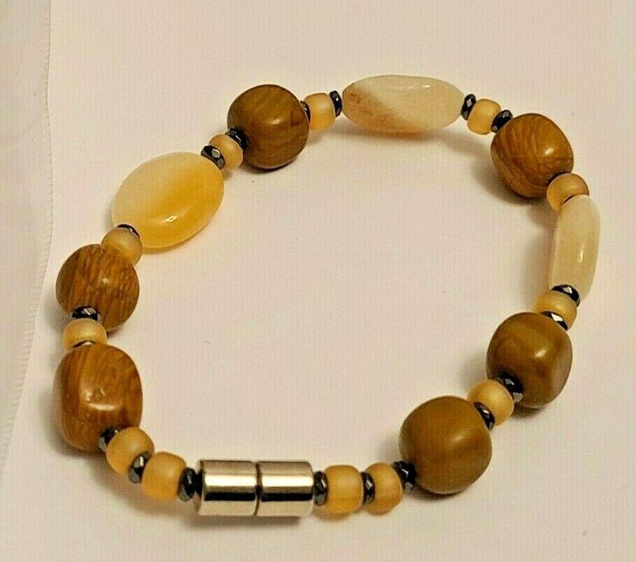 "Bracelet Magnetic Hematite Clasp Single Strand  7 3/4"" Single Strand  (MAG-007)"