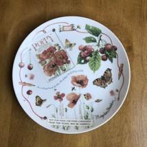 "Marjolein Bastin Natures Reds Collectors Plate Poppy Butterflies 8.5""W NEW - $19.80"