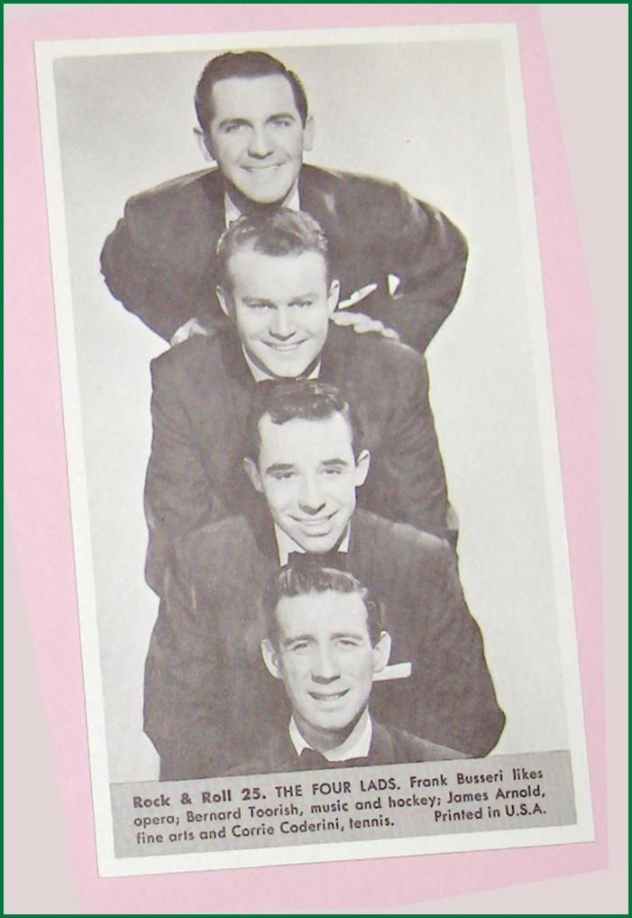 Primary image for The Four Lads  Number 25  Collectible Rock and Roll  Arcade or Exhibit Card