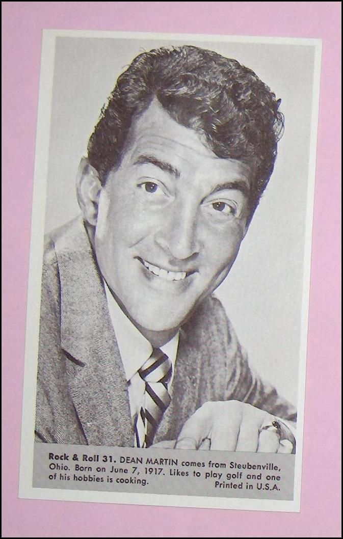 Primary image for Dean Martin   Number 31  Collectible Rock and Roll  Arcade or Exhibit Card