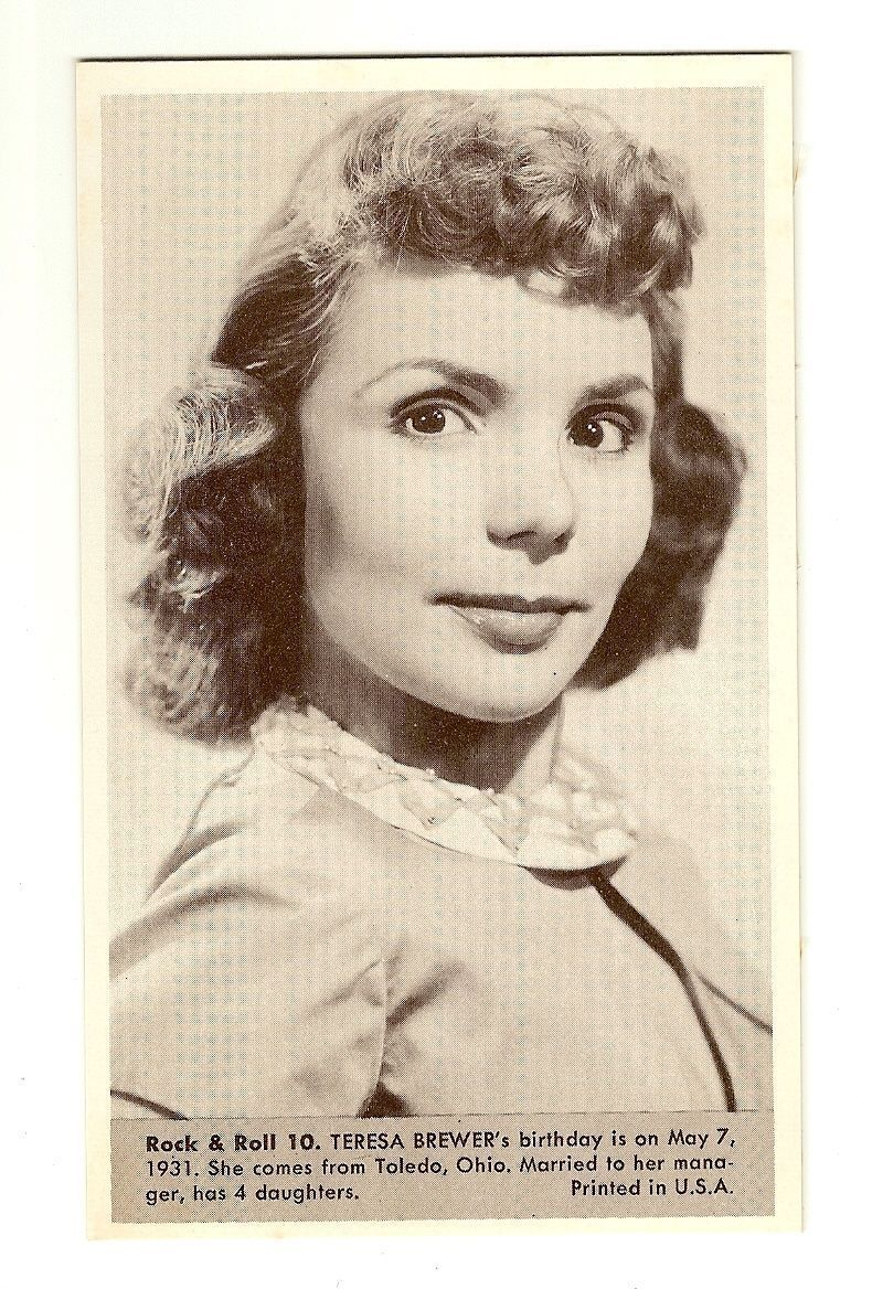 Primary image for Teresa Brewer  Number 10  Collectible Rock and Roll  Arcade or Exhibit Card