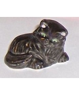 Wade Black Cat With Green Eyes and Pink Ear Lining Porcelain - $12.95