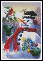 Seasons Greetings snowman holiday cross stitch chart Artecy Cross Stitch Chart - $14.40