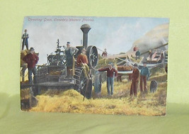 Threshing Grain Canada's Western Prairies  Vintage Postcard - $6.50