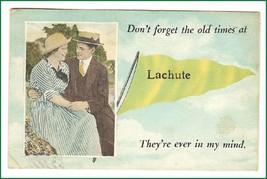 Lachute   Pennant Card Quebec  Canada Vintage Postcard - $10.45