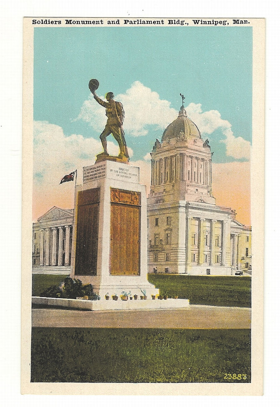 Primary image for Postcard Soldiers Monument and Parliament Building  Manitoba Canada
