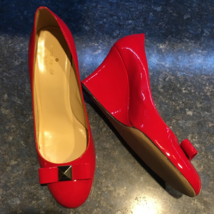 Kate Spade NY Red Patent Leather Bow Wedge MANIA, Women Size 10-Excellent  - $89.00
