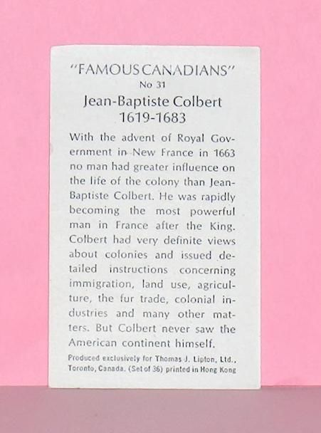 Primary image for Information Card for Number 31   Colbert   from Famous Canadians Series