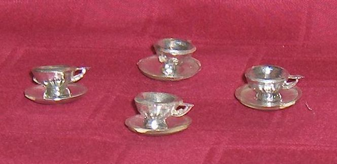 Primary image for Set of 4 Miniature Cups and Saucers Silver Color Plastic
