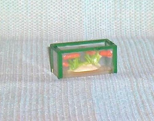 Primary image for Small Aquarium and Goldfish Hard Plastic  Miniature Accessory for Dollhouse