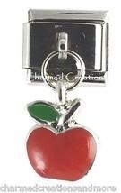 9mm Italian Charm Stainless Modular Dangle Link Red Apple Teacher School  - $7.98