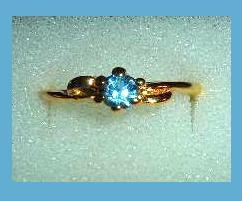 Brilliant 0.25ct CZ LONDON BLUE TOPAZ Yellow Gold Tone Ring