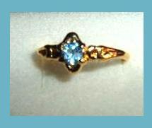 Leaf Style 0.25ct CZ LONDON BLUE TOPAZ Yellow Gold Tone Ring