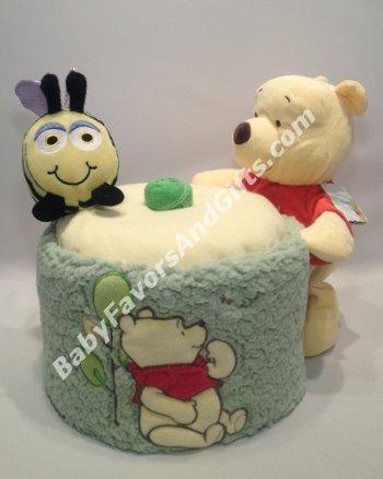 Centerpieces winnie pooh honey jar diaper cake