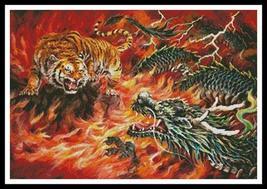 Dragon and Tiger In Fire cross stitch chart Artecy Cross Stitch Chart - $14.40