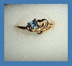 Lovely 0.25ct CZ LONDON BLUE TOPAZ Yellow Gold Tone Ring
