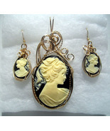Victorian Lady Black and Cream Cameo Set 14K rolled Gold  - $85.00