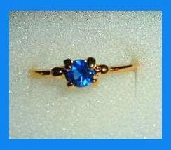 Solitaire 0.25ct CZ BLUE SAPPHIRE Yellow Gold Tone Ring - $24.99