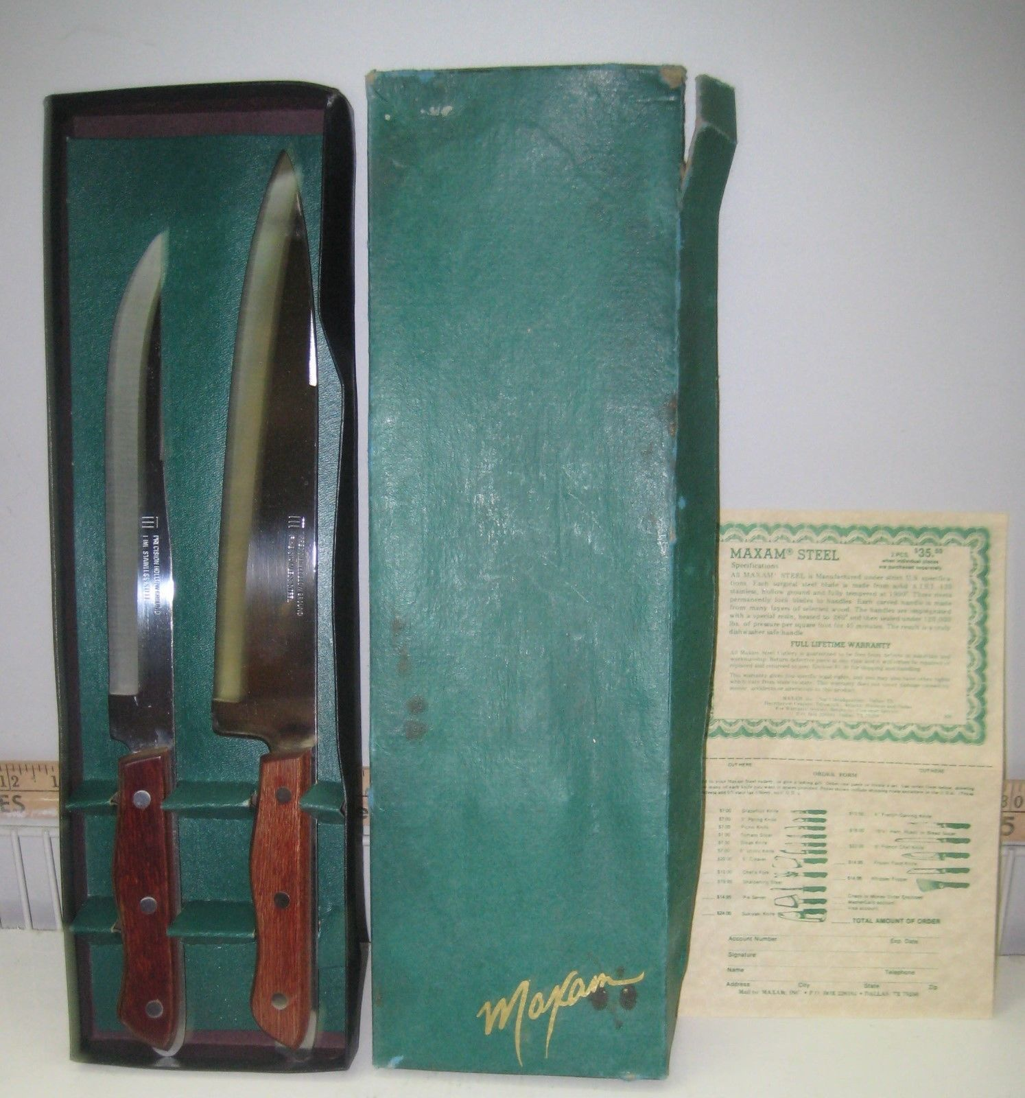 Vintage maxam stainless steel kitchen chef carving knife