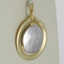 Pendentif Médaille or Jaune Blanc 750 18K, Madone et Christ, Marie et Jésus image 2