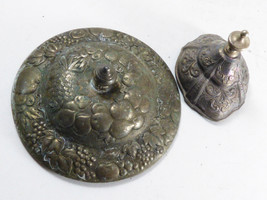 Antique Repousse Silver plate Flower fruit pattern lot of 2 lids for bow... - $21.88