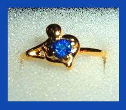 Heart & Knob 0.25ct CZ BLUE SAPPHIRE Yellow Gold Tone Ring