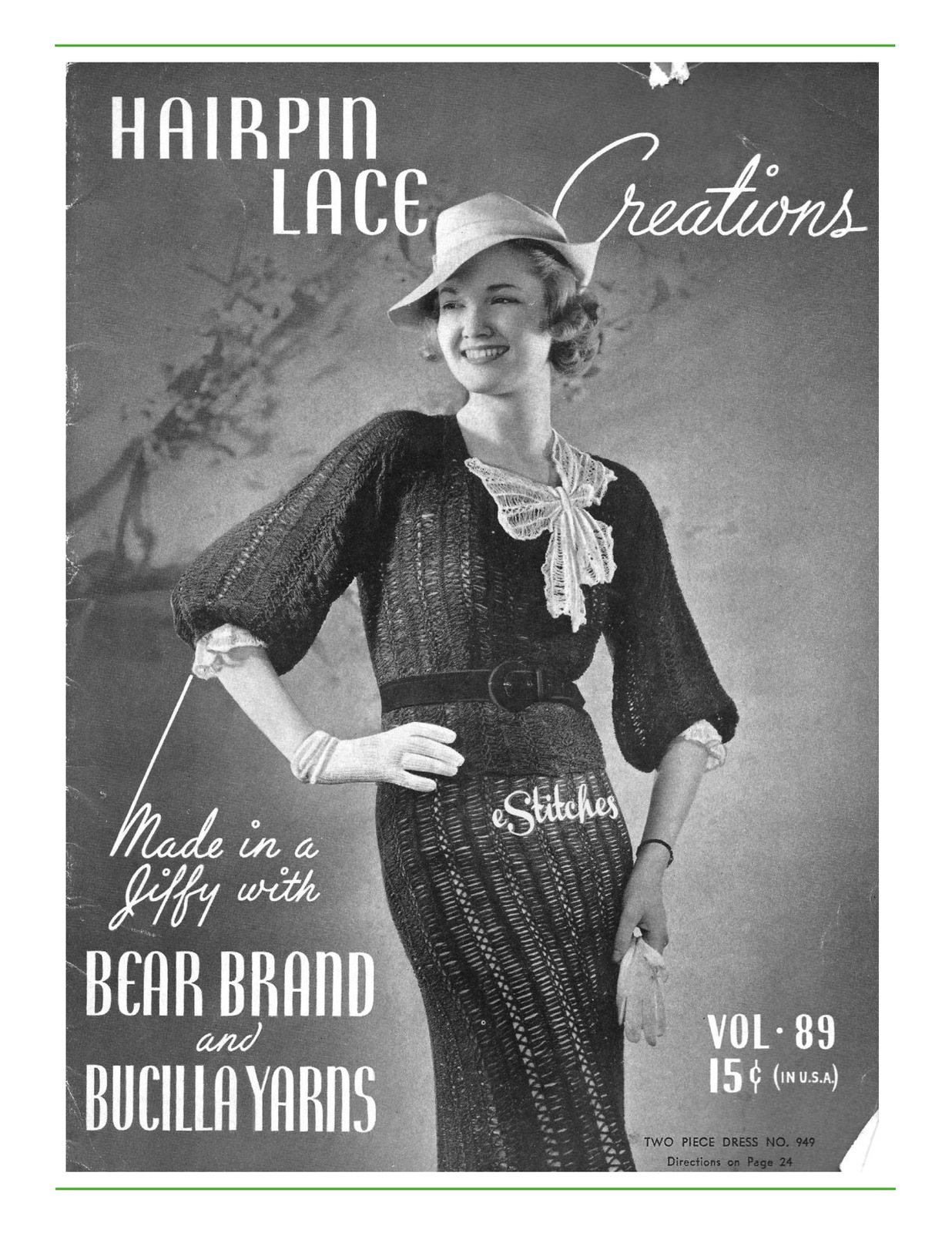 Primary image for Hairpin Lace Creations 1930s Dresses Blouses Bear Brand Bucilla Vol 89  (PDF 89)