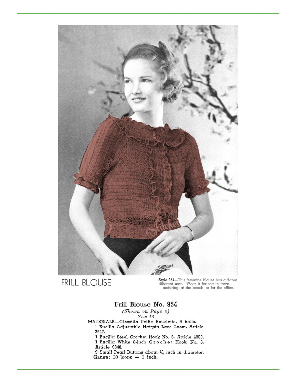 Primary image for 1930s Frill Blouse Hairpin Lace Creations - 1 Hairpin Lace pattern (PDF 8954)