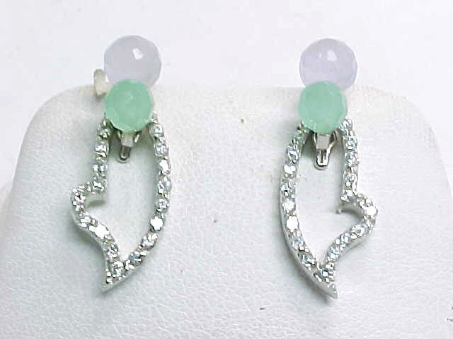 Primary image for LAVENDER and GREEN JADE Drop EARRINGS with removable CZ Dangle in STERLING