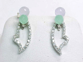 LAVENDER and GREEN JADE Drop EARRINGS with removable CZ Dangle in STERLING  - $52.00
