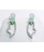 LAVENDER and GREEN JADE Drop EARRINGS with removable CZ Dangle in STERLING  - £38.97 GBP