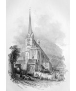 SWITZERLAND St. Peter & Paul Church at Stans - SUPERB Litho Antique Print - $33.75