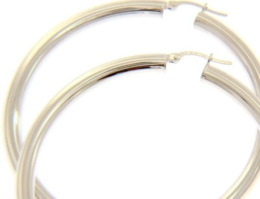 18K WHITE GOLD ROUND CIRCLE HOOP EARRINGS DIAMETER 50 MM x 4 MM, MADE IN ITALY