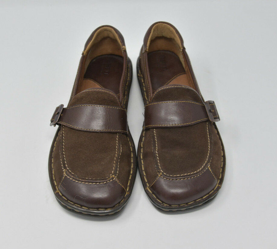 Born Women's Sz 8 EU 39 Brown Leather & Suede Monk Strap Slip On Flats