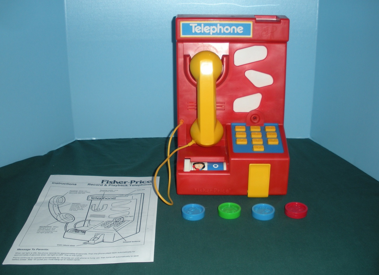 Vintage Fisher Price #2021 Record & Playback Telephone COMPLETE/NEAR MINT!