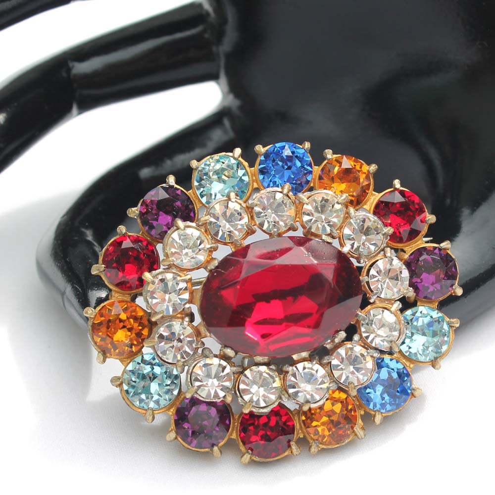 Primary image for Vintage Multi-Colored Dentelle Rhinestone Brooch