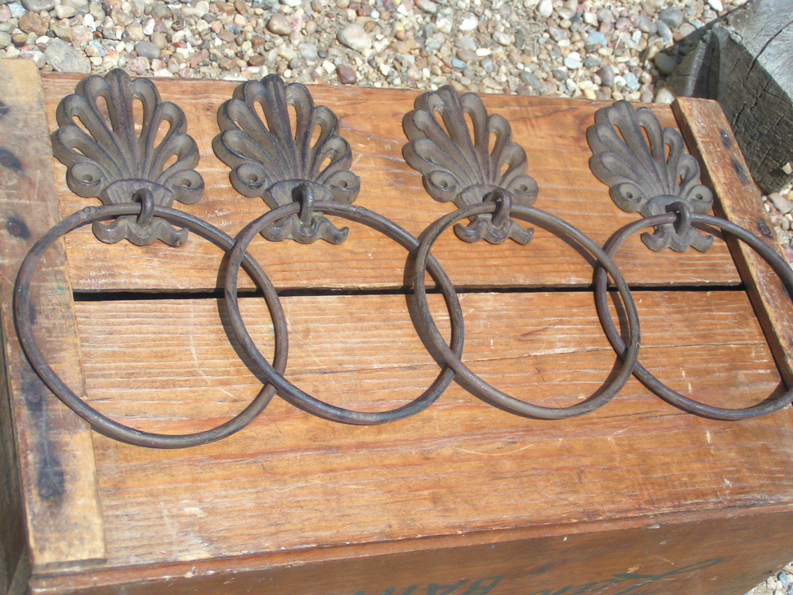 Primary image for FOUR Cast Iron Bath Wall Hang Rings Curtain Tie backs bz