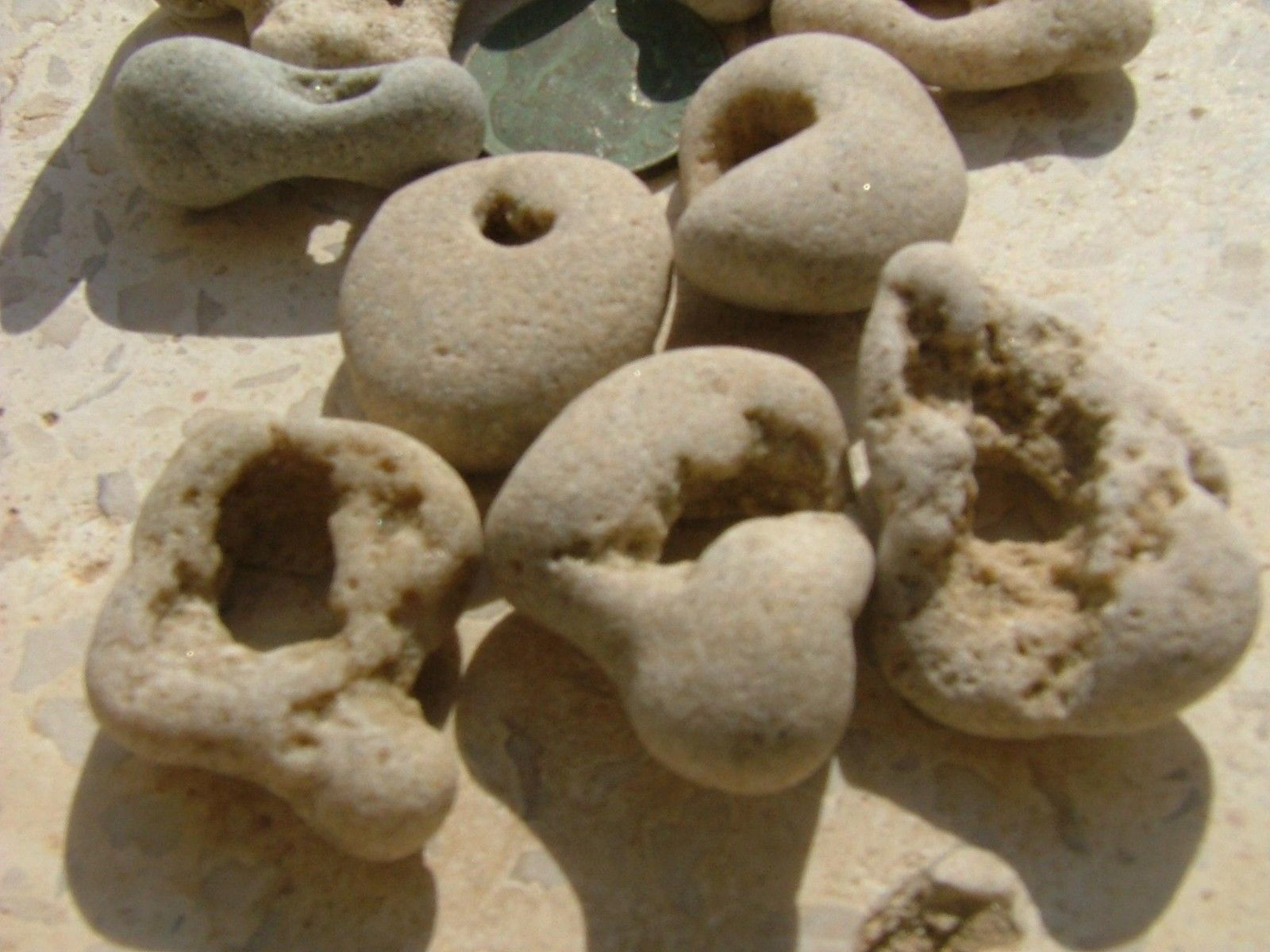 Primary image for 10 small - medium Beach Natural Pebbles Stone Rock with holes WOW from Israel #3