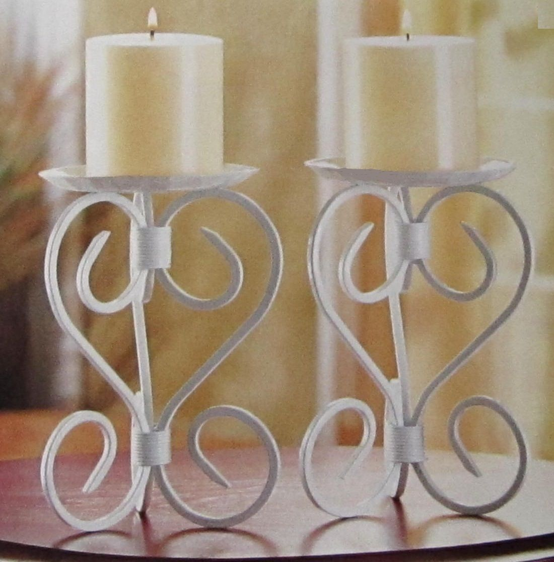 Primary image for 10 White Candelabra Candle Holder Iron Candleholder Wedding Centerpieces