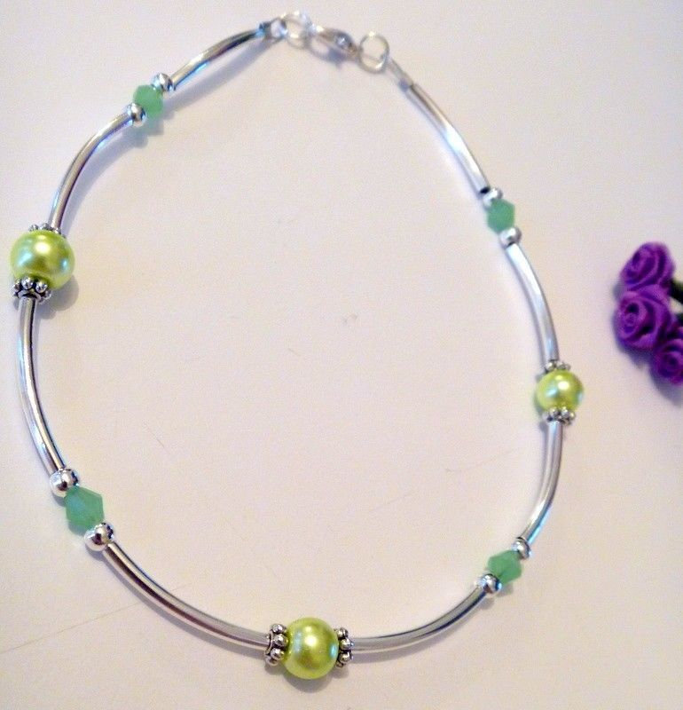 Primary image for Handcrafted Light Green Crystal Beaded and Silver Tube Beads Ankle Bracelet