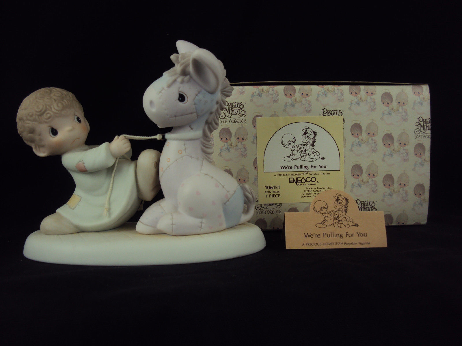 Primary image for Precious Moments Figurine, 106151, We're Pulling For You, Cedar Tree Mark, 1987