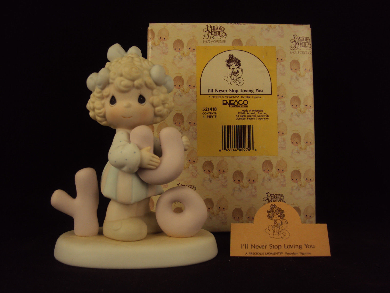 Primary image for Precious Moments Figurine, #521418, I'll Never Stop Loving You, Flame Mark, 1989