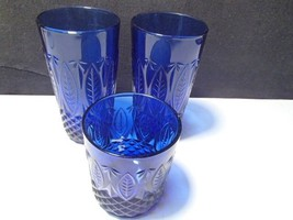 COBALT BLUE SAPPHIRE CRISTAL D ARQUES DURAND FRANCE..2 - HIGH TUMBLERA~1... - $18.99