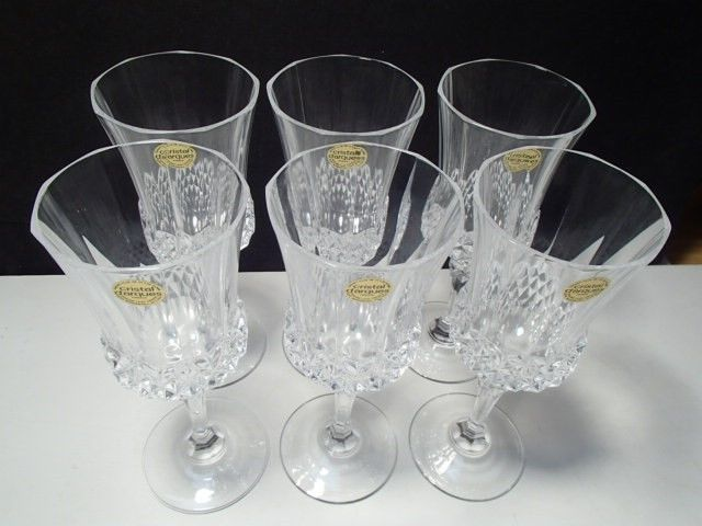 Primary image for 6 CRISTAL d'ARQUES VALENCAY TALL WATER / WINE GOBLETS~~w-labels