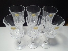 6 CRISTAL d'ARQUES VALENCAY TALL WATER / WINE GOBLETS~~w-labels - $39.99
