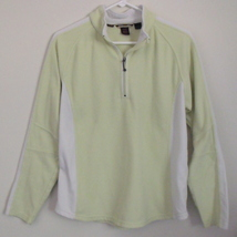 Womens North End Lime Green White Fleece Quarter Zip Long Sleeve Top Siz... - $8.95