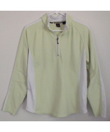 Womens North End Lime Green White Fleece Quarter Zip Long Sleeve Top Siz... - $8.95