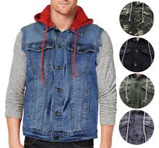 CS Men's Ripped Distressed Button Up Denim Jean Vest Removable Hood Slim Fit